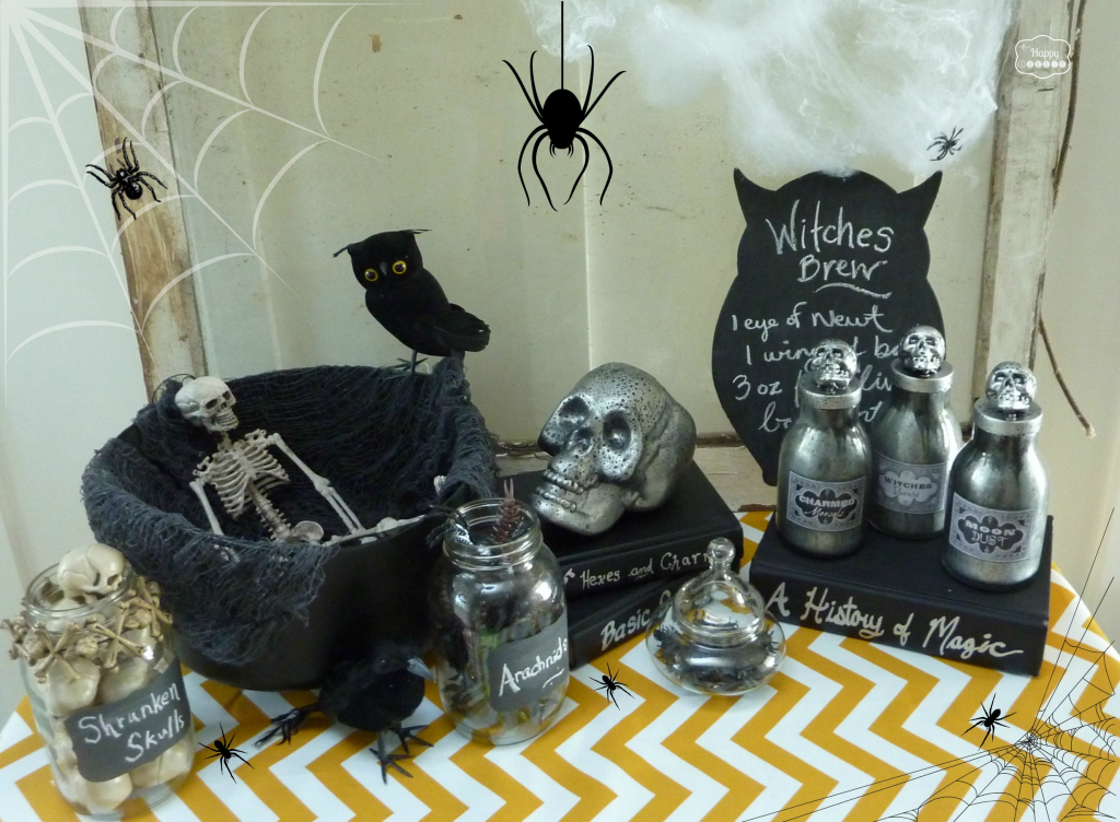 Halloween-Vignette-with-DIY-Faux-Mercury-Glass-Potion-Bottles-by-the-happy-housie-for-Uncommon-Designs
