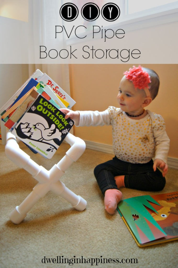 GREAT idea! Use PVC pipe to make a cute little book storage shelf to hold books for kiddos! Perfect idea for the classroom, too! Made by: Dwelling in Happiness
