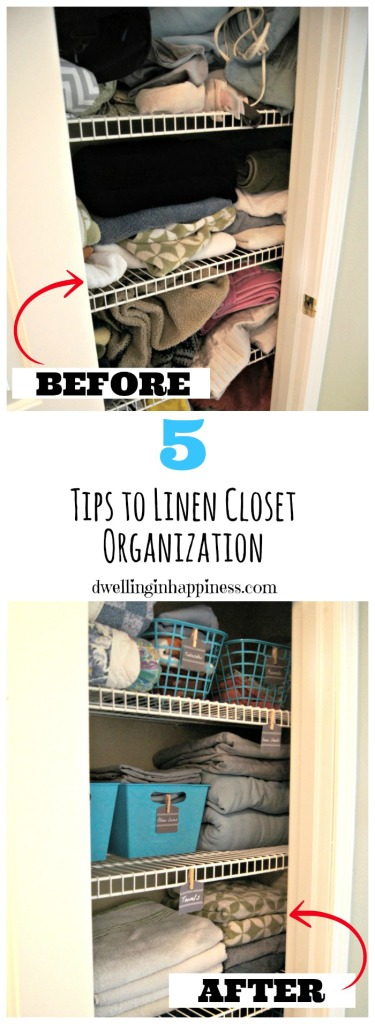 5 Tips to Linen Closet Organization from Dwelling in Happiness