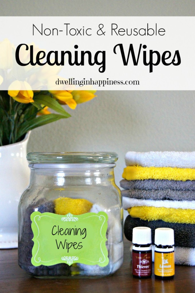 Non-toxic and reusable Cleaning Wipes! Perfect for countertops, sinks, bathrooms, door knobs, anything! From Dwelling in Happiness