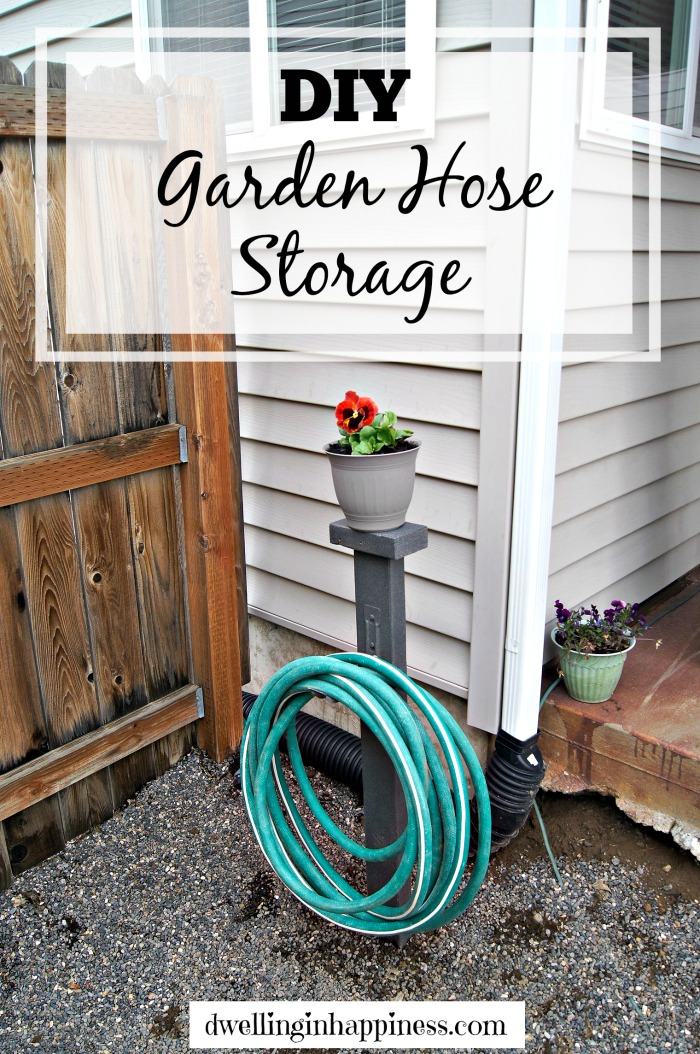 Garden Hose Storage Ideas inexpensive garden hose hook Diy Garden Hose Storage Dwelling In Happiness