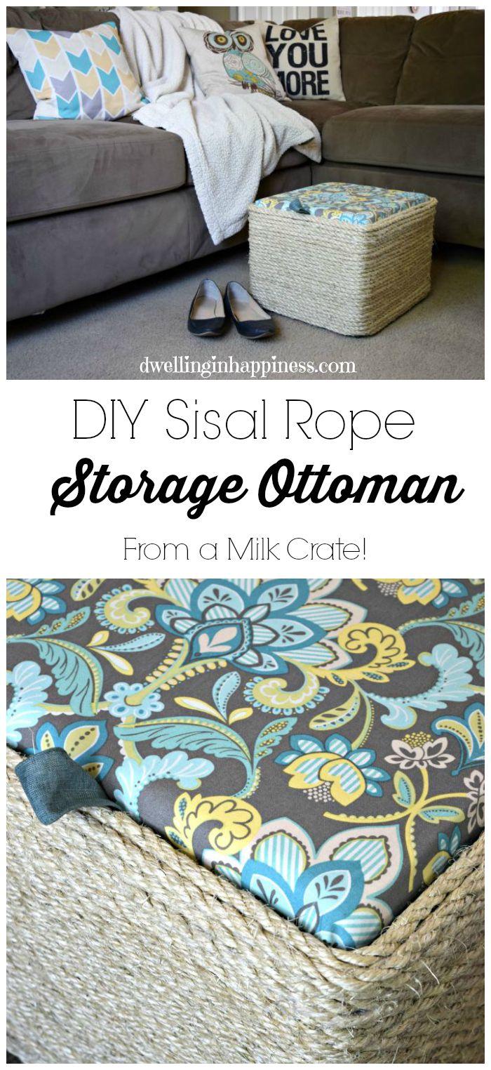 Brilliant Diy Sisal Rope Ottoman From A Milk Crate Alphanode Cool Chair Designs And Ideas Alphanodeonline