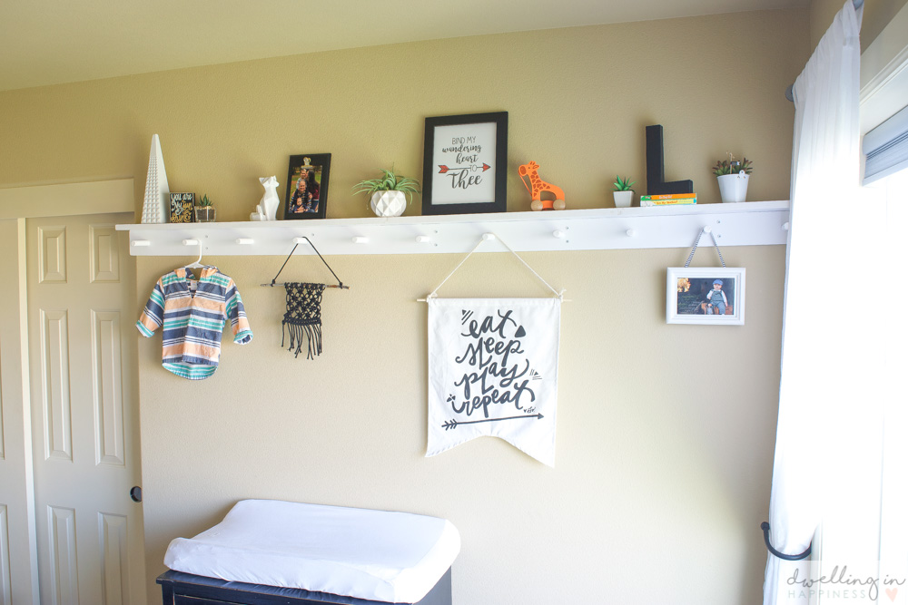 How to Make a Modern Peg Rail with a Shelf // Dwelling in Happiness