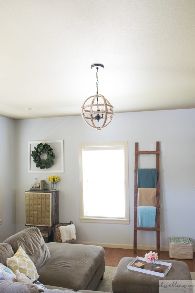 Cheap and Easy DIY Twine Orb Chandelier // Dwelling in Happiness