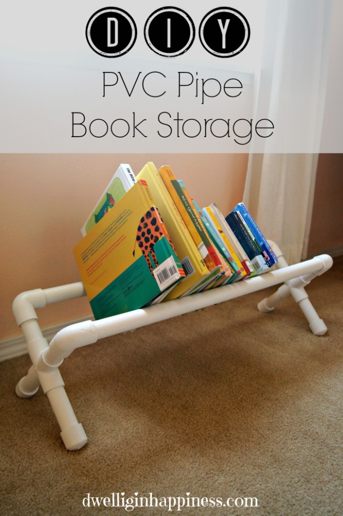 GREAT idea! Use PVC pipe to make a cute little book storage shelf to hold books for kiddos. Perfect idea for the classroom, too! Made by: Dwelling in Happiness