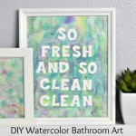 DIY Watercolor Bathroom Art